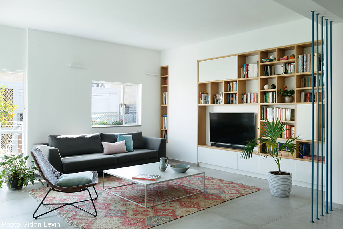 Modern living room in small apartment.