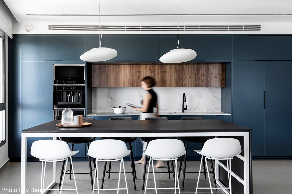 Dark blue kitchen design