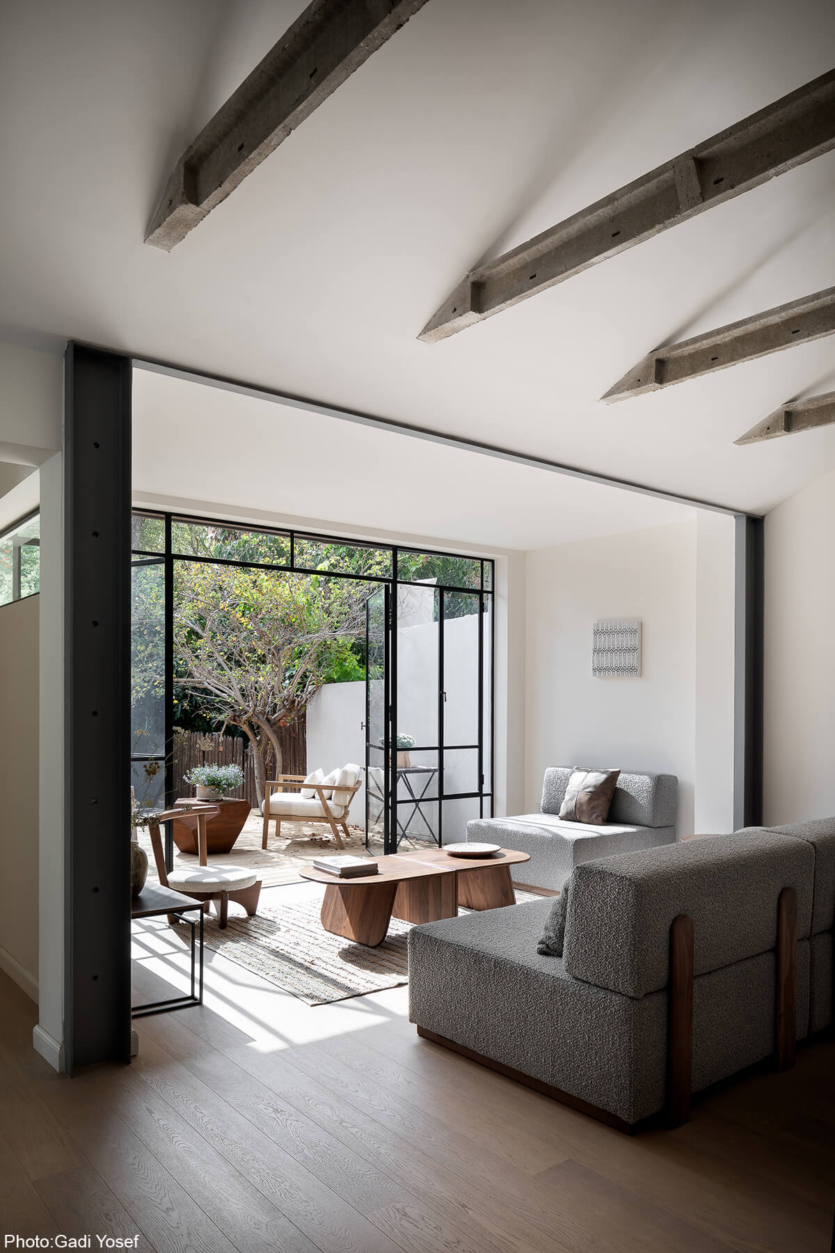 A maximum window wall was opened with two wide iron frame doors between the living area and the courtyard to gain maximum natural light